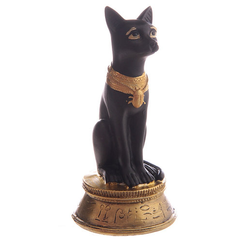Decorative Small Black and Gold Bast Egyptian Figurine Front right View