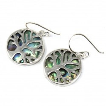 Tree of Life Silver Earings 15mm Front View