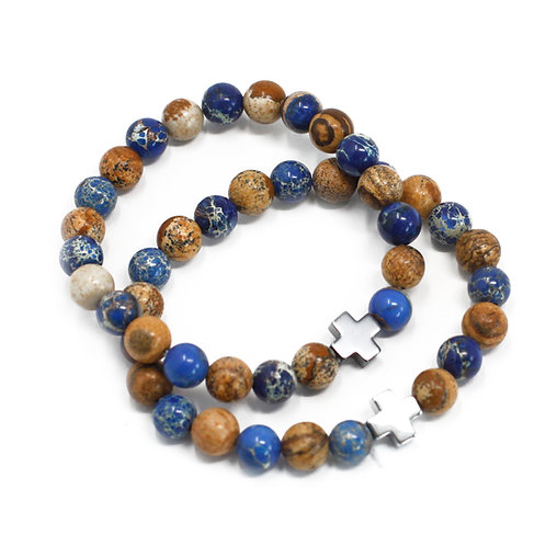 Set of 2 Friendship Bracelets - Support -  Sodalite & Picture stone