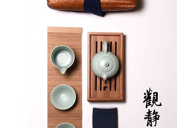 仿古汝窯手提茶具 Antique Styled Ru Type Travel Tea Set