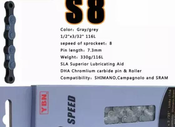 YBN S8-TiB 8spd Diamond Coated Chain