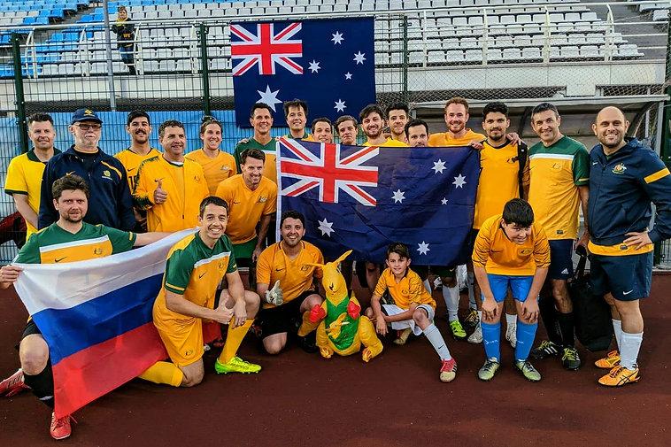 Aussie Supporteroos after a 2-6 win over Irrésistibles Français in Kazan, June 15, 2018