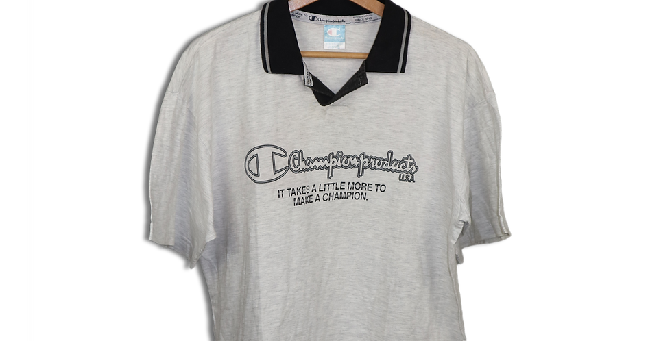 EARLY 1990s CHAMPION COLLARED T SHIRT | L