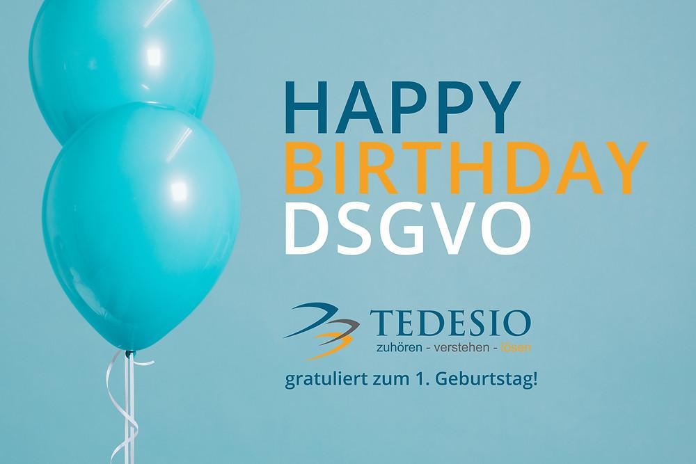 Tedesio gratuliert zu 1 Jahr DSGVO