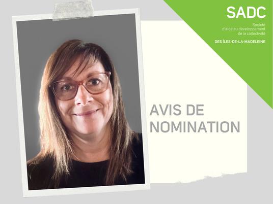 Avis de nomination - Josiane Doyle au poste de conseillère aux entreprises