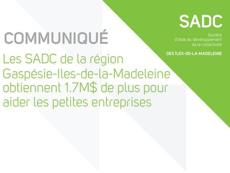 Les SADC de Gaspésie-Iles-de-la-Madeleine obtiennent 1,7 M$ de plus pour aider les entreprises