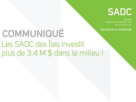 La SADC des Îles investit plus de 3.4M$ dans le milieu !