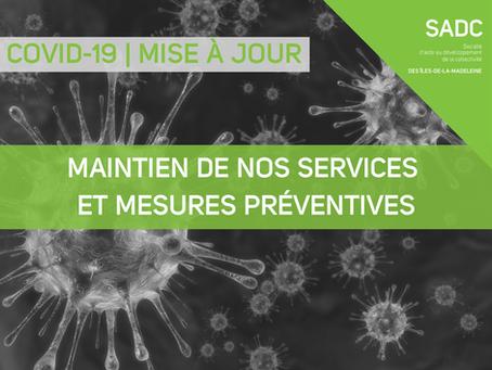 Mise à jour | COVID-19 | Maintien des services et mesures préventives