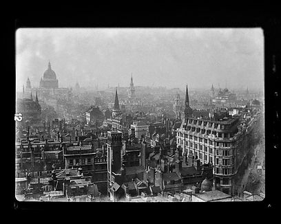 Glass negative St Pauls from Monument