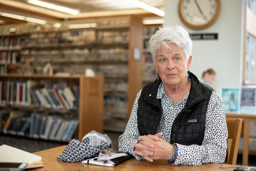 Flagstaff City Councilmember Jamie Whelan speaks about her campaign for mayor of Flagstaff at the Flagstaff Public Library March 11 - Brian Burke