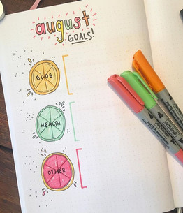 August 2018 goals - super obsessed with how this turned out; one of my favourite layouts ever (inspired heavily by Amanda Rach Lee)