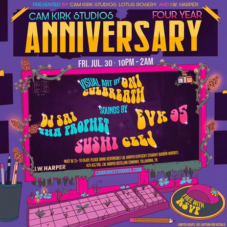 Cam Kirk Studios 4 Year Anniversary