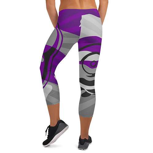 """BY ALL MEANS"" Purple Cameo Capri Leggings"