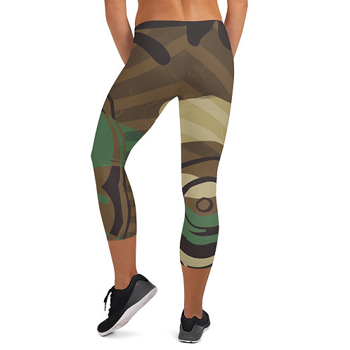 """By All Means"" Green Cameo Capri Leggings"
