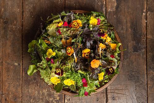 Fall Salad, Edible Flowers w/Dressing