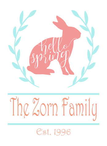 14x19 Personalized Hello Spring Bunny.jp