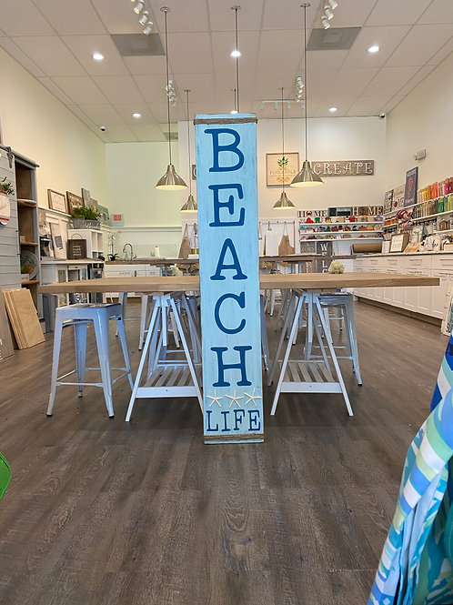 Beach Life Vertical Sign with Starfish