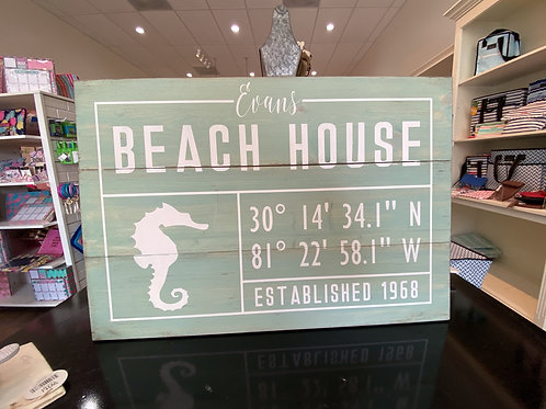 Personalized Beach House Lat Long With Border