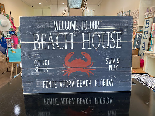 Personalized Beach House Sign - Crab