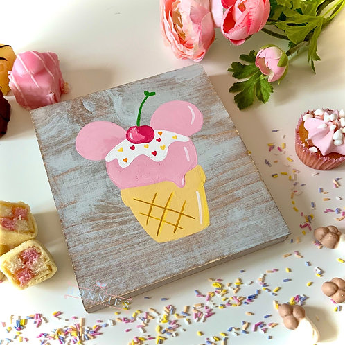 Mouse Ice Cream Inspired Sign - Solid Wood