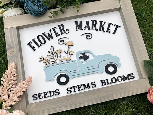 Flower Market Truck Sign