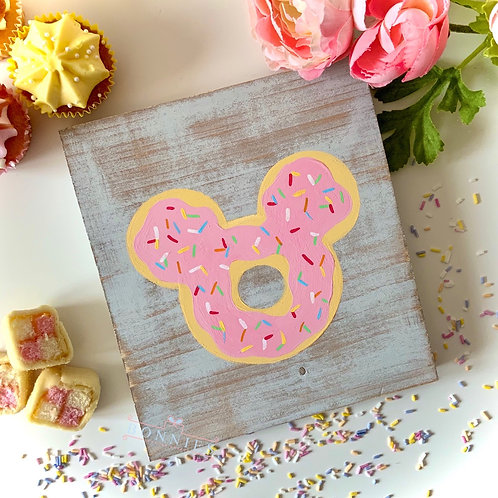 Mouse Doughnut Inspired Sign - Solid Wood
