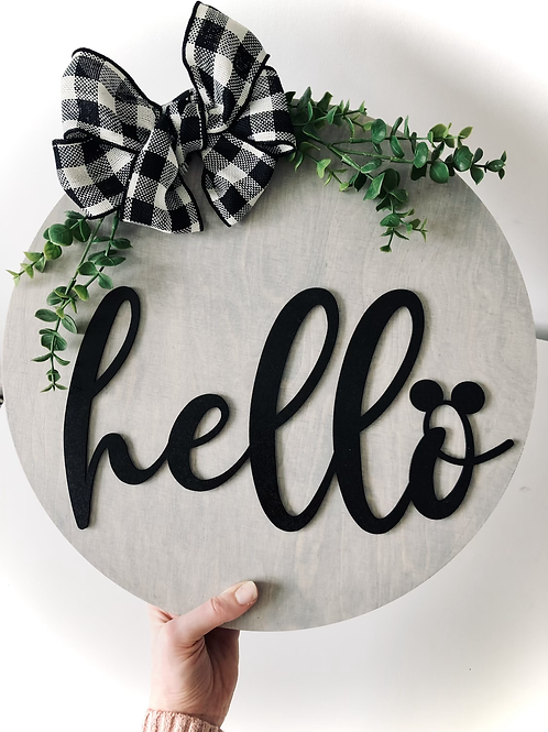Hello Mouse Sign 40cm Diameter
