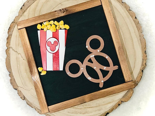 Mouse Pretzel and Popcorn Sign