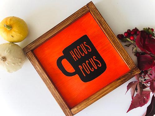 Halloween Farmhouse Mug Solid Wood Sign