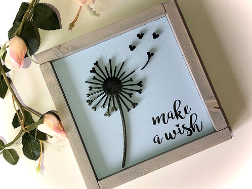 Dandelion Make A Wish Solid Wood Sign