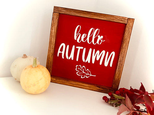Hello Autumn Solid Wood Sign