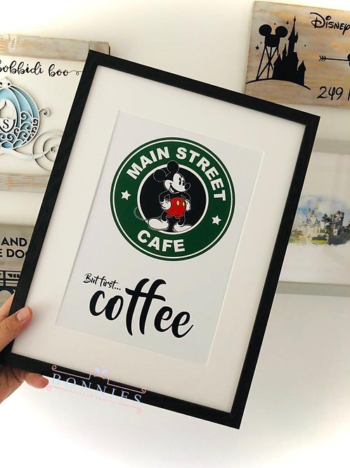 Main Street Cafe, But First Coffee Print
