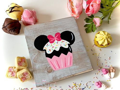 Mouse Cupcake Inspired Sign - Solid Wood