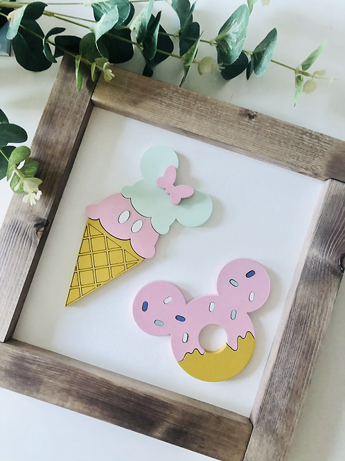 Mouse Ice Cream Sign -  Solid Wood