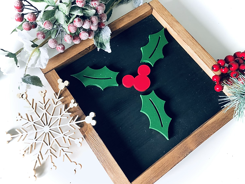 Mouse Holly & Berry Sign -  Solid Wood