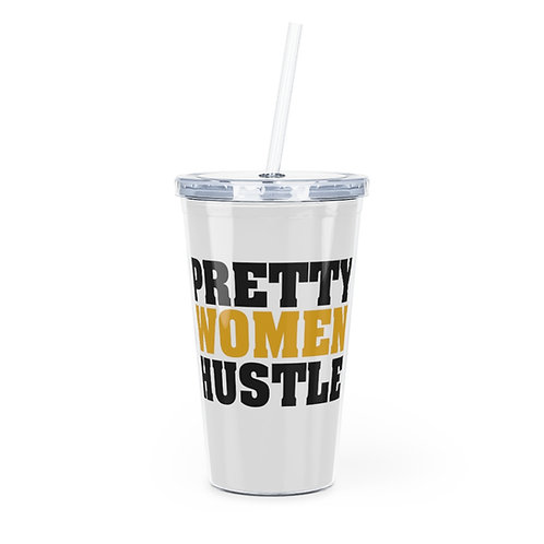 Black and Yellow PWH Plastic Tumbler with Straw