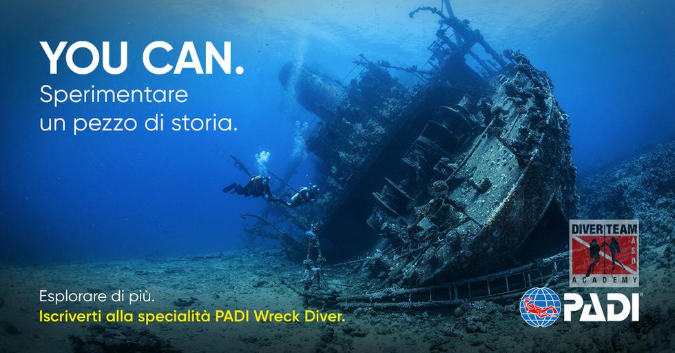 Ottieni la Specialita PADI Wreck Diver