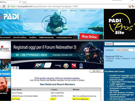 E' ufficiale... APT Group è un PADI Dive Resort!