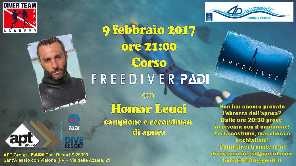 Freediver PADI Homar Leuci