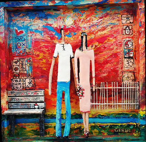 Alek Gerber, Couple with Flowers, coffer work, Acrylic on wood