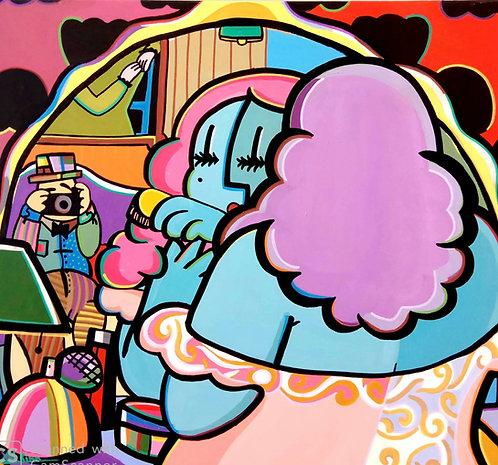 Rina Maimon, Homage to Botero, Acrylic on canvas