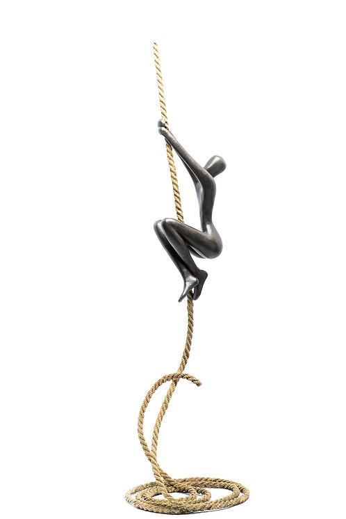 Tolla Inbar, Aspiration, Bronze Sculpture, Nude figure, Rope sculpture