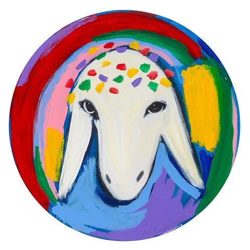 Menashe Kadishman, Sheep head 21, circular painting, Acrylic on canvas