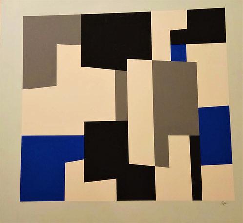 Yaacov Agam, Lithograph, Blue and grey