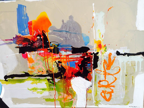 Moshe Leider, Art 4, Mixed media on canvas