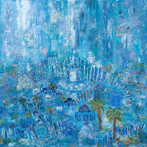 Orli Ziv, Jerusalem, Blue atmosphere, Mystical city, pigment and oil on canvas