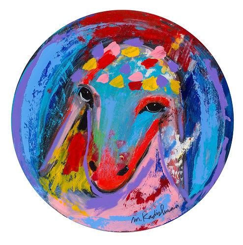 Menashe Kadishman, Sheep head 26 circle painting, Acrylic on canvas