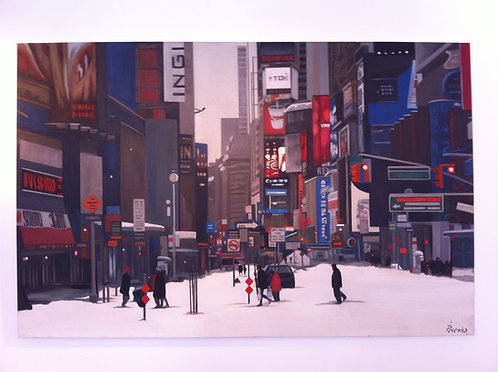 Ina Pesenka, New York in the winter, oil on canvas