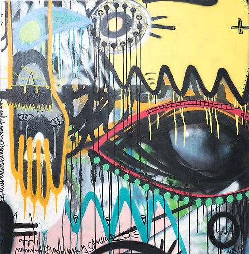 Klone, Big Brother is watching you, Graffiti and spray on canvas,