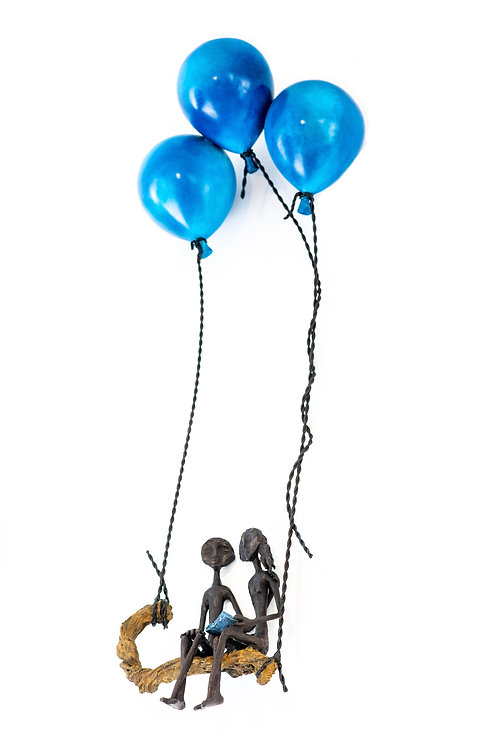 Ruth Bloch, Blossoming with 3 balloons, lovers or angels,Bronze sculp
